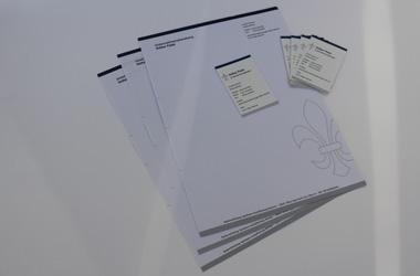 Briefpapier, Visitenkarten + Webseite